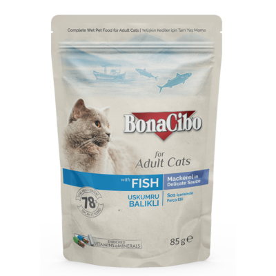 BONACIBO POUCH - WET ADULT CAT FOOD - MACKAREL  85g