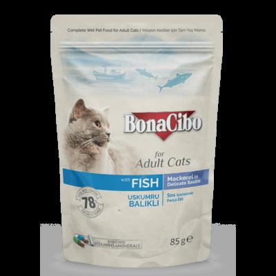 BONACIBO POUCH - WET ADULT CAT FOOD - MACKAREL  85g