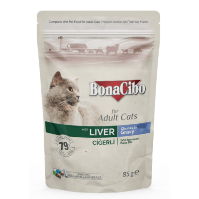 BONACIBO POUCH - WET ADULT CAT FOOD - LIVER 85g