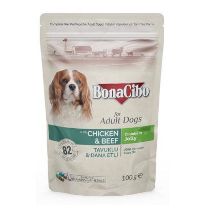 BONACIBO POUCH - WET ADULT DOG FOOD - CHICKEN & BEEF  100g