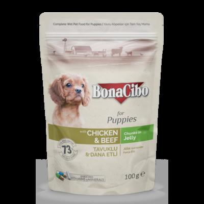BONACIBO POUCH - WET PUPPY FOOD - CHICKEN & BEEF  100g