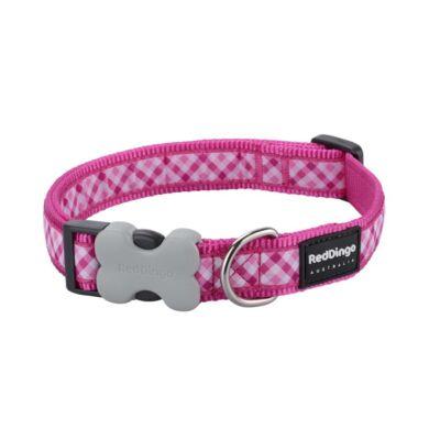 Red Dingo Gingham Hot Pink XS kutya nyakörv