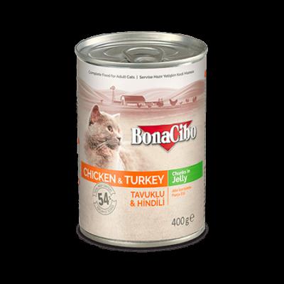 BONACIBO CANNED CAT FOODS CHICKEN & TURKEY 400g
