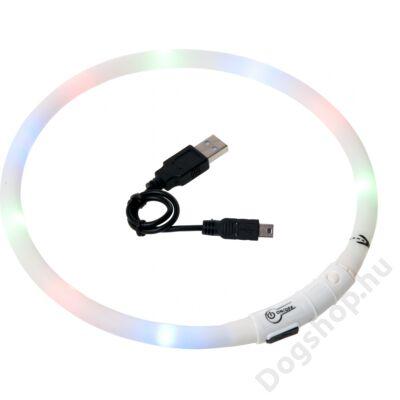 Flamingo nyakörv villogó/világító led+USB fehér 70 cm