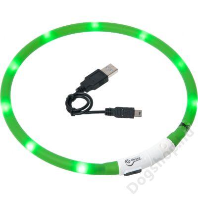 Flamingo nyakörv villogó/világító led+USB zöld 70 cm